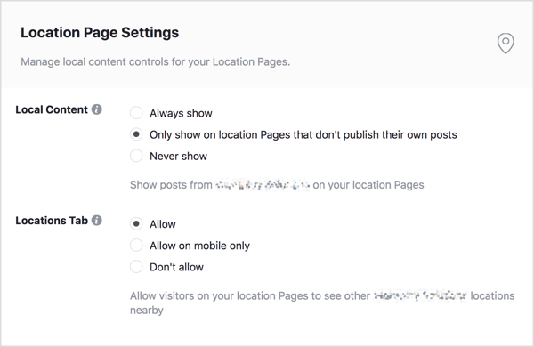 Edit which posts from your brand page are displayed on your location pages.