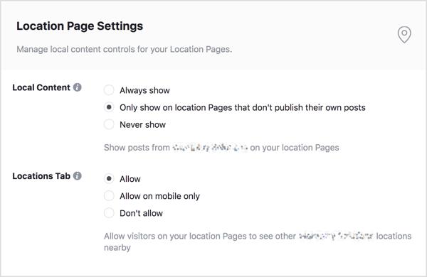 Bewerk welke berichten van uw merkpagina worden weergegeven op uw locatiepagina's.