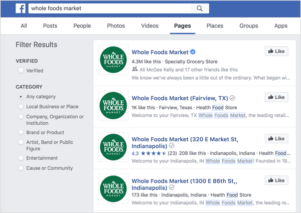 Individual location pages show up in Facebook search.