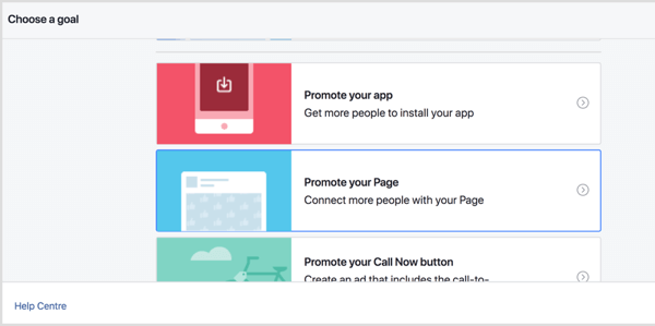 Choose a goal for the promotion on your Facebook location page.
