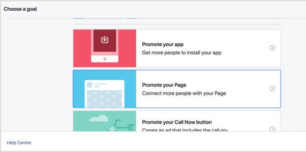 Kies een doel voor de promotie op uw Facebook-locatiepagina.