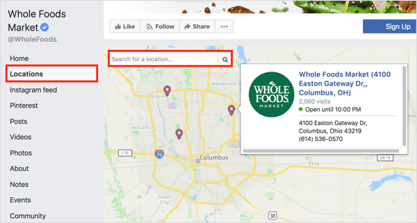 Clicking the Locations tab on a Facebook page reveals individual locations on a map.