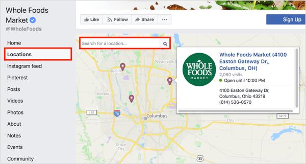 Als u op het tabblad Locaties op een Facebook-pagina klikt, worden afzonderlijke locaties op een kaart weergegeven.