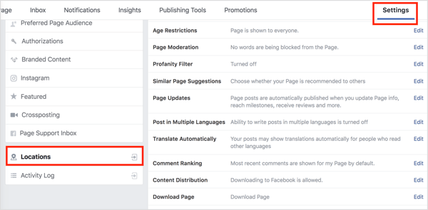 Select Locations in the left sidebar in your Facebook page settings.