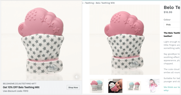In your Facebook slideshow ad, take some of the product images from the product landing page to reinforce familiarity.
