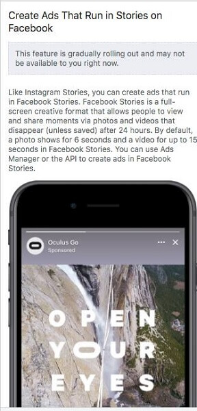 Facebook Stories ads are gradually rolling out to more users.