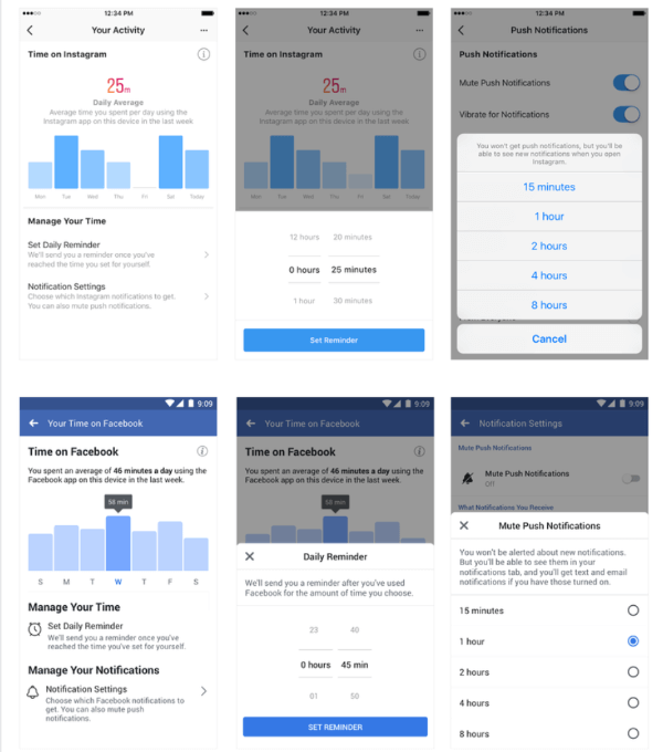 Facebook introduced new tools to help people manage their time on Facebook and Instagram.