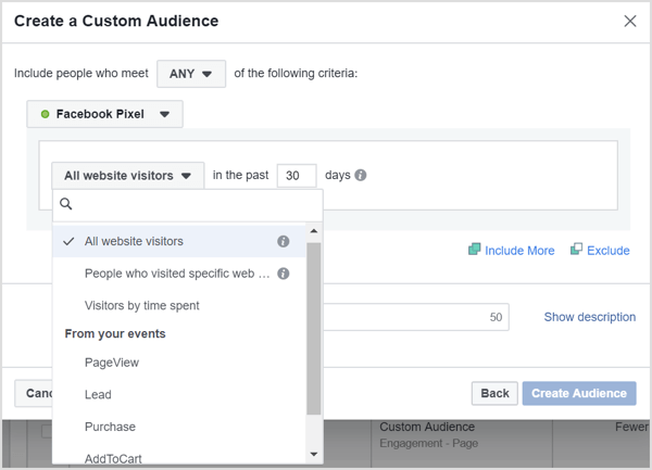 If you click the All Website Visitors drop-down menu, you reveal options to target people who visit specific pages, spend a lot of time on your site, or have met event criteria.