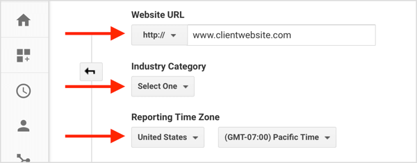 Fill in information to create a new client account from your Google Analytics account.