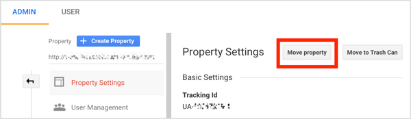 Select the account you want to move, click Property Settings, and then click Move Property.
