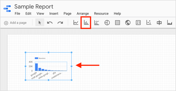 Click the icon for the element you want to create and draw a box in your report.