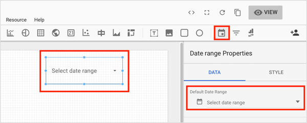 Click the Date Range tool on the toolbar and draw a box in the area of the chart where you want to add the control.