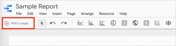 To add a new page to your report, click the Add a Page option.