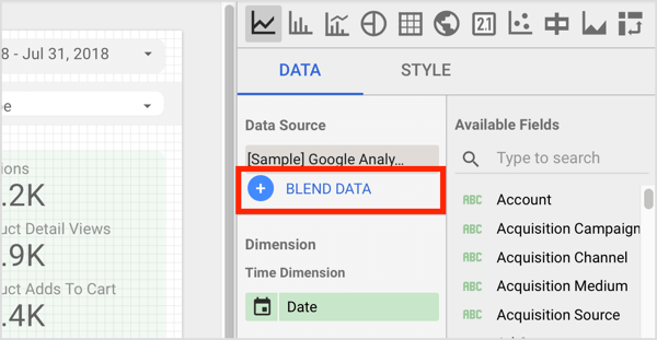 Click Blend Data on the Data tab on the right.