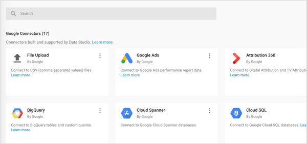 Importeer drie soorten connectoren in Google Data Studio: Google Connectors, Partner Connectors en Open Source Connectors.