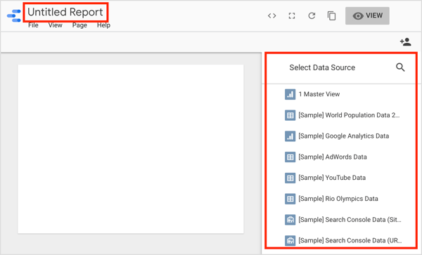 Select a data source and add a name for your report.