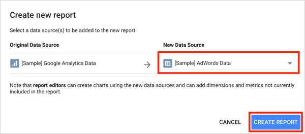 Select your data source from the drop-down menu and click Create Report.