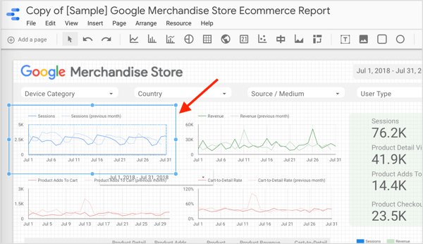 To see the dimension and metric for a component in your report, click to select the component.