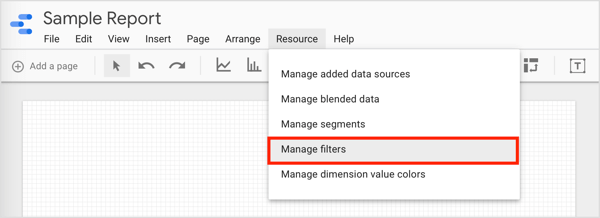 To filter data and create groups you can use, click Resource on the menu bar and select Manage Filters from the drop-down menu.
