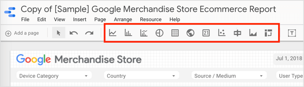 Click one of the buttons on the toolbar to add a chart or table to your Data Studio report.