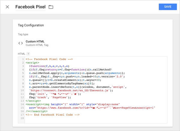 In Google Tag Manager, click the Custom HTML option and paste the tracking code you copied from Facebook into the HTML box.