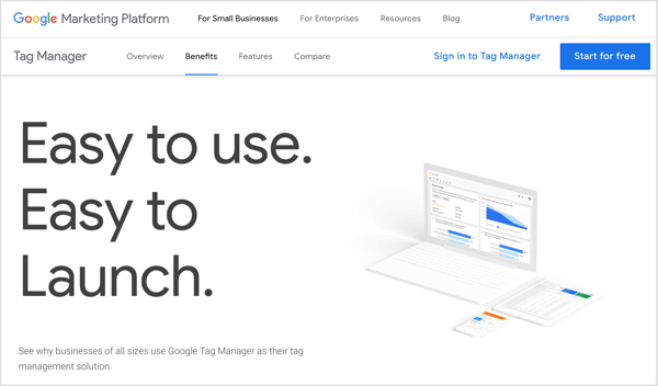 Google Tag Manager will track any behaviors you ask it to track on a web page and send data about those behaviors to Google Analytics, which stores the data.