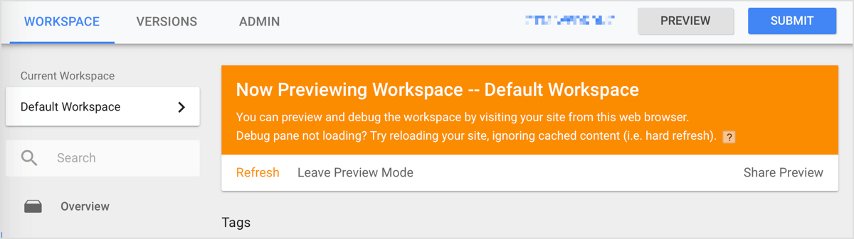 After you click Start Preview, an orange bar appears to let you know you're in preview mode.