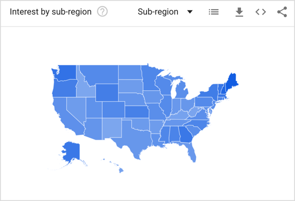 Google Trends shows you where your keyword has been searched for the most.