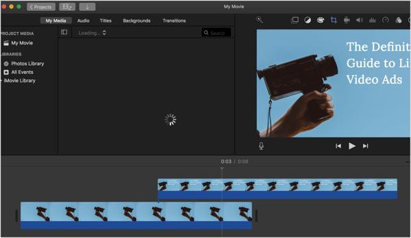 Sử dụng chương trình chỉnh sửa video như iMovie để tạo video cho quảng cáo LinkedIn của bạn.