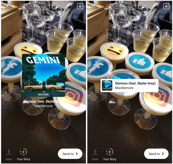 Tap on the Music sticker to reveal additional display options where the song title and album cover appear less pronounced.