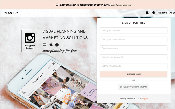 On the Planoly homepage, visitors have to provide their email address in exchange for the free service.