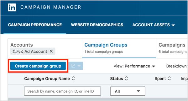 Trên tab Nhóm chiến dịch của Trình quản lý chiến dịch LinkedIn, nhấp vào nút Tạo nhóm chiến dịch.
