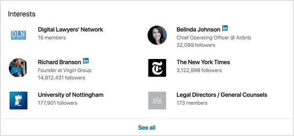 Truy cập vào hồ sơ LinkedIn của khách hàng mơ ước của bạn và xem sở thích của họ ở gần cuối trang.