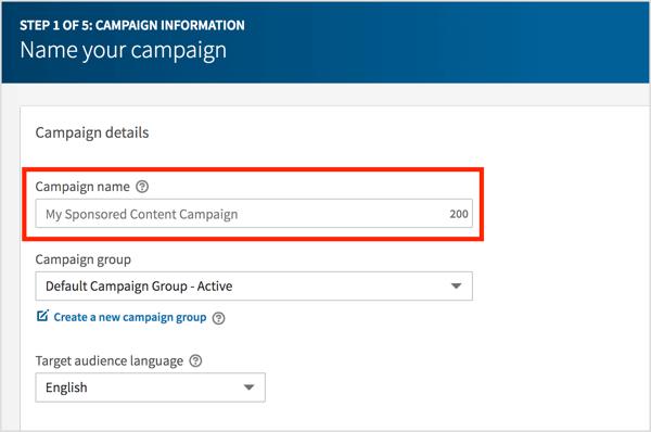 Nhập tên cho chiến dịch video LinkedIn của bạn và nhấp vào Tiếp theo.