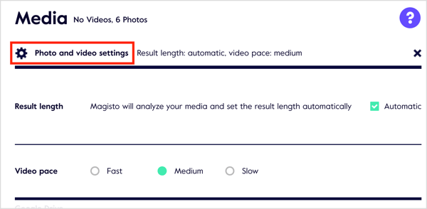 Click the Photo and Video Settings link to customize settings.