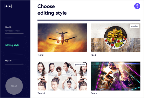 Choose from 56 templates and styles for your video in Magisto.