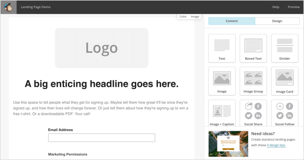 Mailchimp lets you design a freestanding landing page that leads to a content library or a single opt-in.