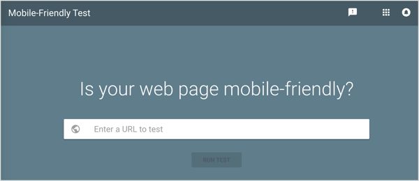 Plug your URL into the search field and click Run Test.