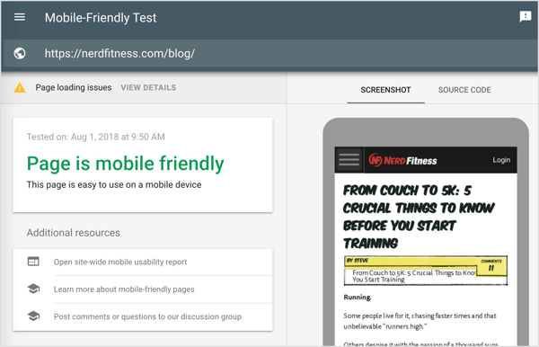 Your test results include a screenshot of the page on mobile and a list of usability issues for mobile devices such as small fonts, Flash usage, clickable elements that are too close together.