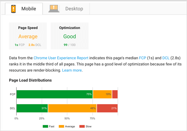 After PageSpeed Insights evaluates your page, you'll see real-world performance data and suggestions for improvement.
