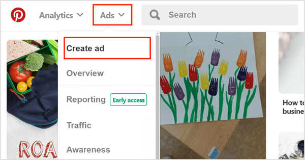 To create a Pinterest search ad, click Ads and select Create Ad.