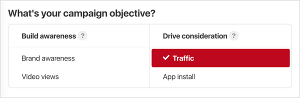 Select the objective for your Pinterest ad campaign.