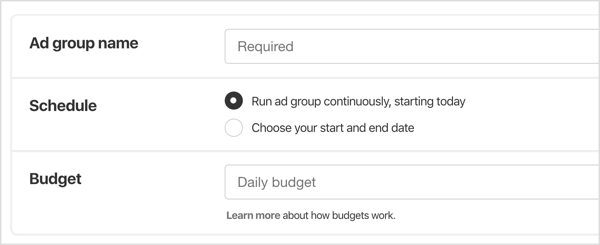 Name the ad group, select a schedule for it, and set a daily budget.