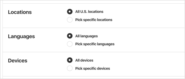Select the geographic locations, languages, devices, and genders you want to target with your Pinterest ads.