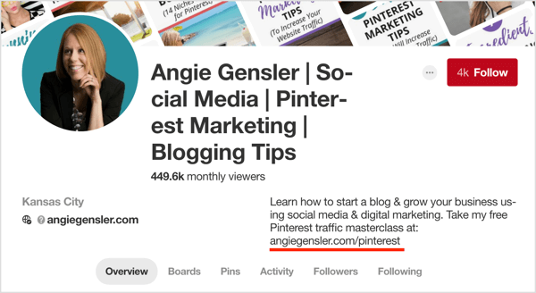 Add the URL to your opt-in to your Pinterest profile description to help grow your email list.