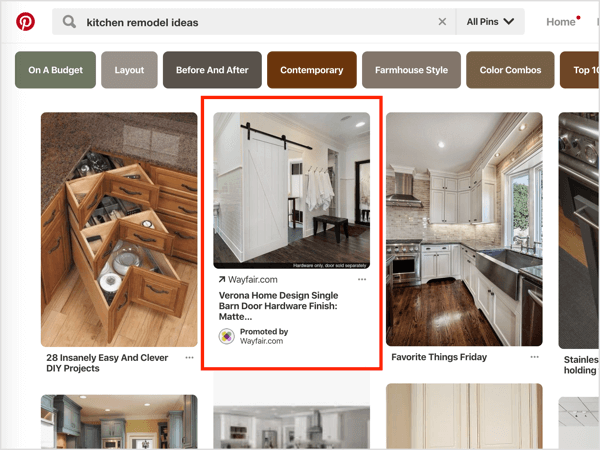 Pinterest search ads are peppered throughout the feed, intermingled throughout regular organic pins.