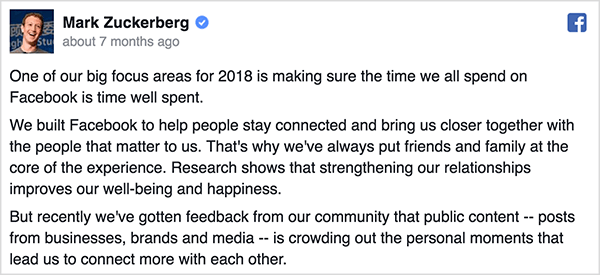 Mark Zuckerberg wrote a Facebook post about changes to the Facebook algorithm. Mark's photo appears in the upper left next to his name and a blue checkmark. The opening paragraphs of his update appear underneath his Facebook profile photo and name. Ralph Burns thinks changes to the algorithm have improved Facebook.