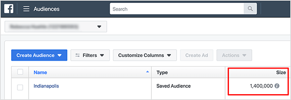 In the Facebook Audiences tool, the size of a saved audience appears in the Size column. In this screenshot, the audience is named Indianapolis, the audience type is Saved Audience, and the size is 1,400,000. Ralph Burns explains that with an audience size of more than 1 million people, you're likely competing with other advertisers for people in the same audience. The Facebook ad algorithm auction determines which ads appear first, second, and so on, relative to other ads.