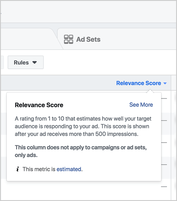 Ralph Burns notes that relevance score is a lagging indicator for how much positive or negative feedback your Facebook ads receive and thus how well they perform in the ads algorithm auction. In Facebook Ads Manager, on the Ads tab, you see the columns are set to Custom, and a Relevance Score column appears. This column shows the relevance score for each ad.
