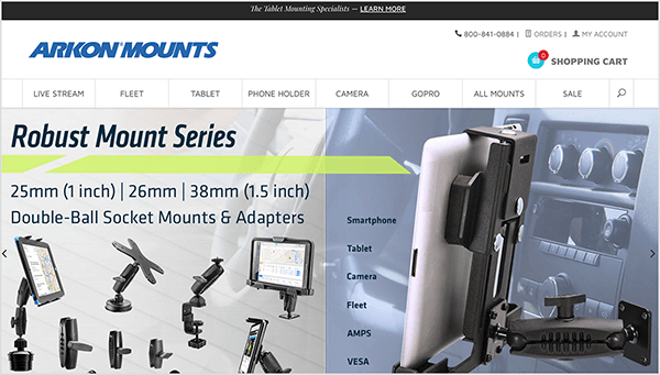 "This is a screenshot of the Arkon Mounts website. The company name appears in dark blue text in the upper left. Below the name is a navigation bar with the following options: Live Stream, Fleet, Tablet, Phone Holder, Camera, GoPro, All Mounts, Sale, and a search icon. Below the navigation bar are two photos placed side by side. On the left is a photo that composites images of several mounts. The text at the top of the photo says ""Robust Mount Series, 25mm (1 inch), 26mm, 38mm (1.5 inch), Double-Ball Socket Mounts & Adapters"". The right-hand photo shows a tablet mounted next to the stereo controls in a car. A column of text on the left lists the following words: Smartphone, Tablet, Camera, Fleet, AMPS, VESA. Todd Bergin recommends mounts from Arkon Mounts for Instagram Live video."